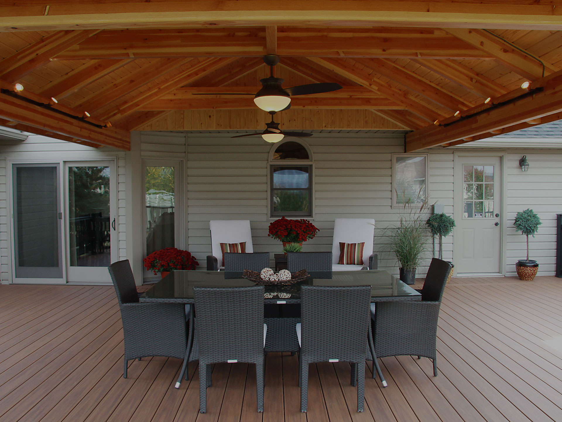 Outdoor dining area on covered patio